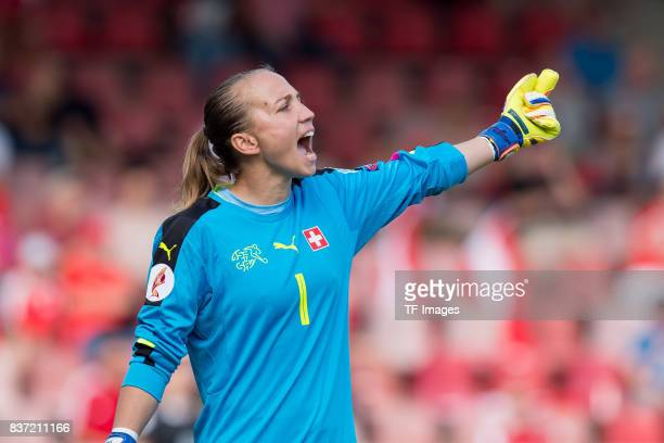 Goalkeeper Gaelle Thalmann of Switzerland gestures during the Group C match between Austria and Switzerland during the UEFA Women's Euro 2017 at...