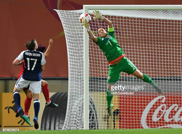 Goalkeeper Gemma Fay of Scotland saves the ball during the UEFA Women's Euro 2017 football match between Scotland and Spain at De Adelaarshorst...