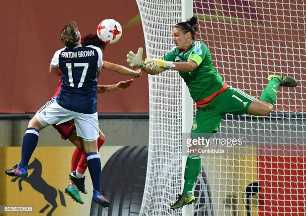 Goalkeeper Gemma Fay of Scotland vies with Amanda Sampedro of Spain and Frankie Brown of Scotland during the UEFA Women's Euro 2017 football match...