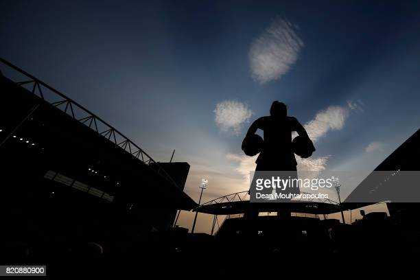 Goalkeeper Gemma Fay of Scotland warms up prior to the UEFA Women's Euro 2017 Group D match between England and Scotland at Stadion Galgenwaard on...