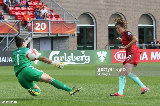 goalkeeper Gemma Fay of Scotland women Carolina Mendes of Portugal women during the UEFA WEURO 2017 Group D group stage match between Scotland and...