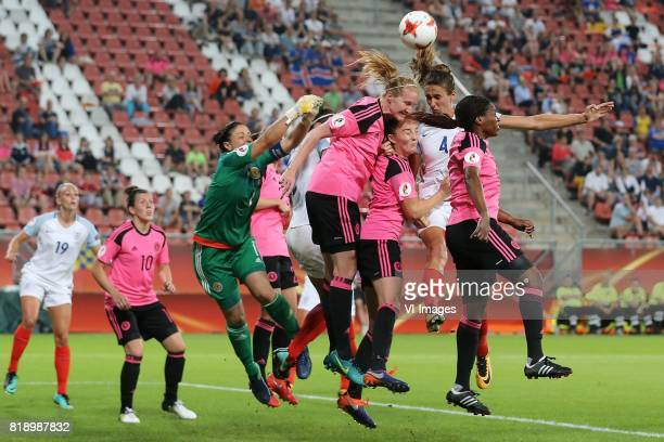 goalkeeper Gemma Fay of Scotland women Vaila Barsley of Scotland women Caroline Weir of Scotland women Jill Scott of England women Ifeoma Dieke of...