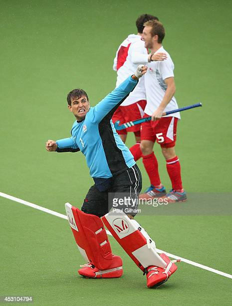 Goalkeeper George Pinner of England celebrates after England won the Bronze Medal following a penalty shoot out in the bronze medal match between New...
