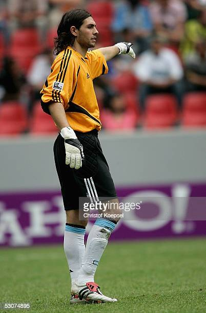 Goalkeeper German Lux of Argentina shows during the FIFA Confederations Cup Match between Argentina and Tunisia at the Rhein Energy Stadium on June...