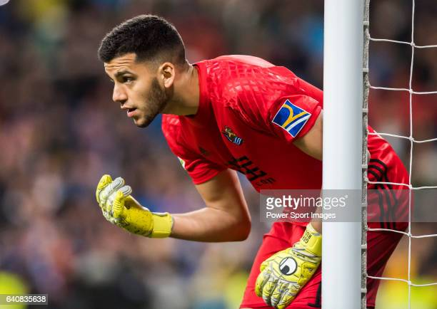 Goalkeeper Geronimo Rulli of Real Sociedad in action during their La Liga match between Real Madrid and Real Sociedad at the Santiago Bernabeu...