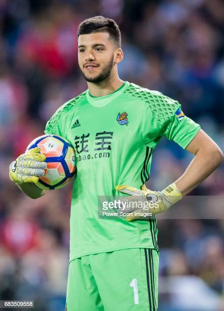 Goalkeeper Geronimo Rulli of Real Sociedad looks on during their La Liga match between Atletico de Madrid vs Real Sociedad at the Vicente Calderon...