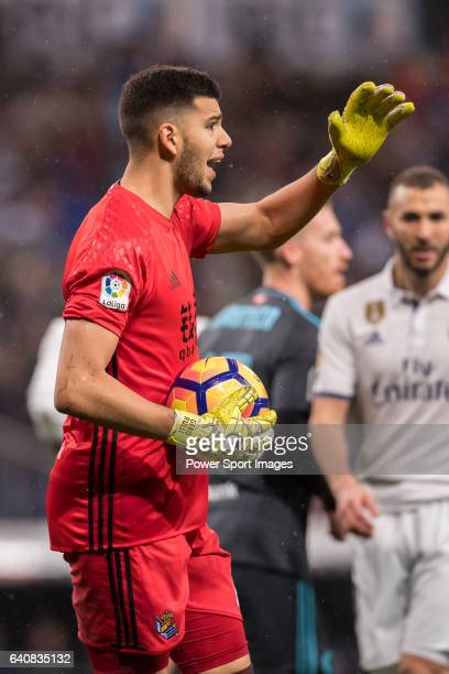 Goalkeeper Geronimo Rulli of Real Sociedad reacts during their La Liga match between Real Madrid and Real Sociedad at the Santiago Bernabeu Stadium...