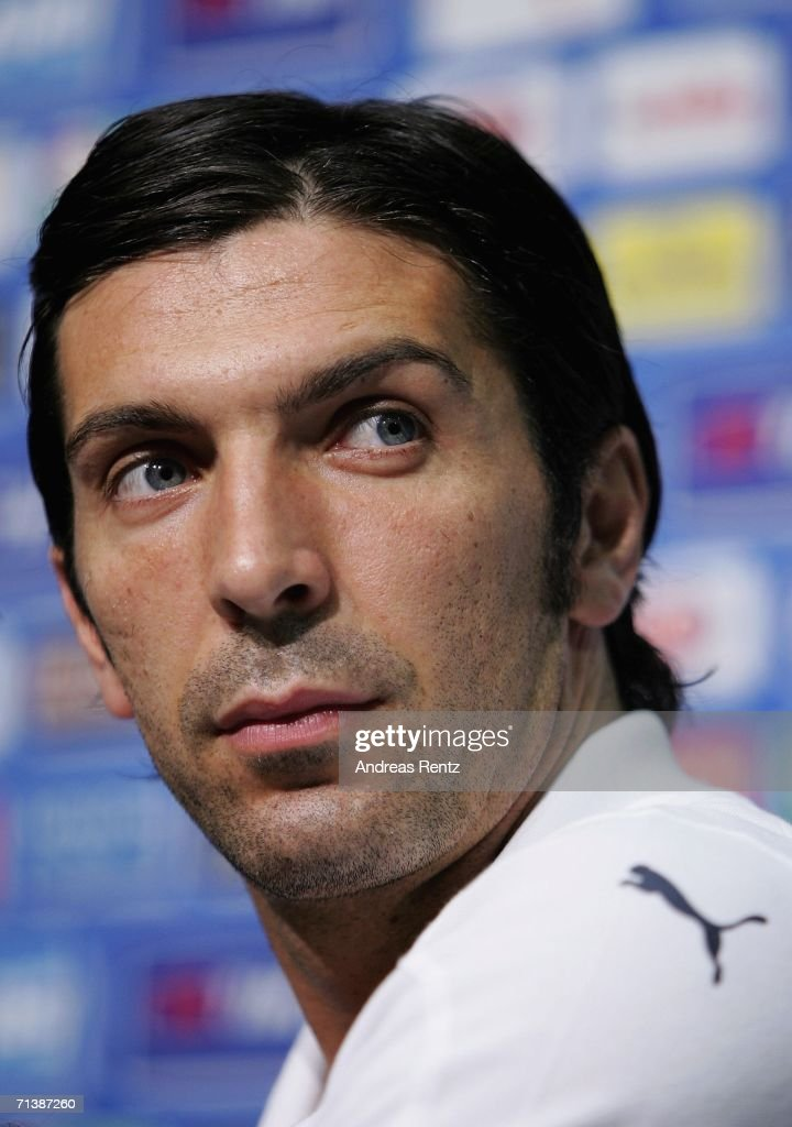 Goalkeeper <a gi-track='captionPersonalityLinkClicked' href=/galleries/search?phrase=Gianluigi+Buffon&family=editorial&specificpeople=208860 ng-click='$event.stopPropagation()'>Gianluigi Buffon</a> attends an Italy National Football Team press conference on July 7, 2006 in Duisburg, Germany.