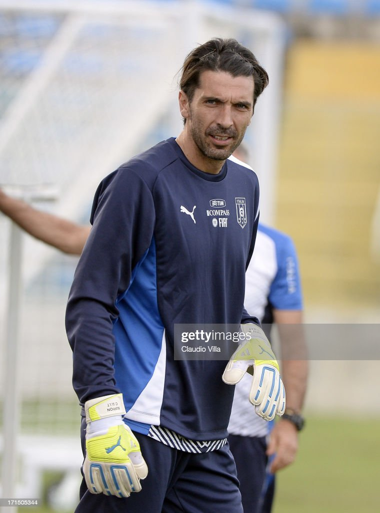 Goal-keeper <a gi-track='captionPersonalityLinkClicked' href=/galleries/search?phrase=Gianluigi+Buffon&family=editorial&specificpeople=208860 ng-click='$event.stopPropagation()'>Gianluigi Buffon</a> looks on during an Italy training session at Estadio Presidente Vargas on June 25, 2013 in Fortaleza, Brazil.