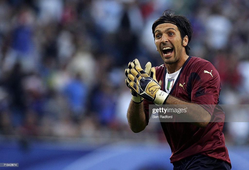 Goalkeeper Gianluigi Buffon of Italy celebrates after teammate Gianluci Zambrotta scores the opening goal during the FIFA World Cup Germany 2006...