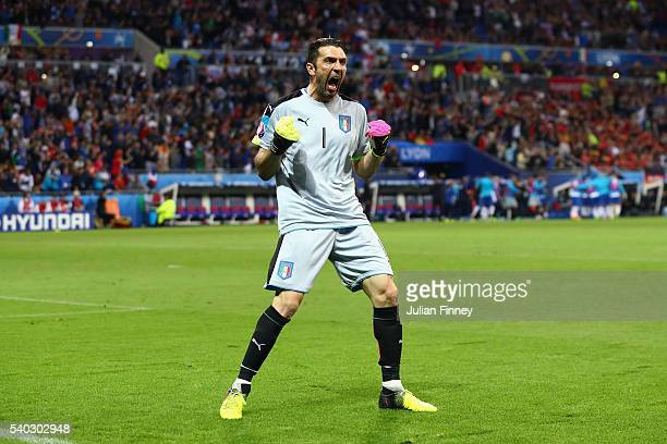Goalkeeper Gianluigi Buffon of Italy celebrates his teams first goal during the UEFA EURO 2016 Group E match between Belgium and Italy at Stade des...