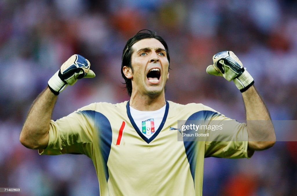 Goalkeeper Gianluigi Buffon of Italy celebrates his team's first goal during the FIFA World Cup Germany 2006 Final match between Italy and France at...