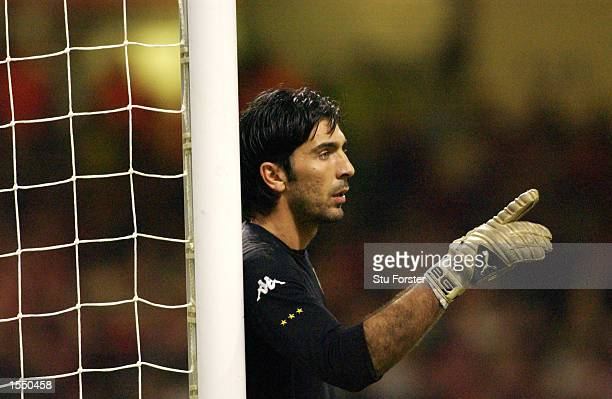 Goalkeeper Gianluigi Buffon of Italy in action during the 2004 European Champioship Group 9 Qualifying match between Wales and Italy on October 16...