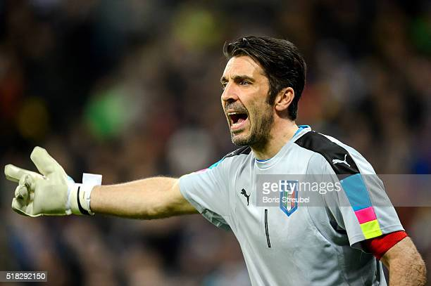 Goalkeeper Gianluigi Buffon of Italy reacts during the International Friendly match between Germany and Italy at Allianz Arena on March 29 2016 in...