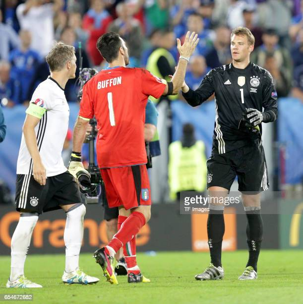 Goalkeeper Gianluigi Buffon of Italy shakes hands with Goalkeeper Manuel Neuer of Germany at the end of the UEFA EURO 2016 quarter final match...