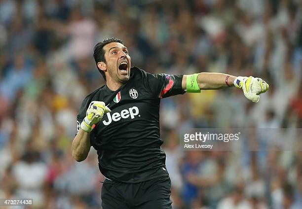 Goalkeeper Gianluigi Buffon of Juventus celebrates during the UEFA Champions League Semi Final second leg match between Real Madrid CF and Juventus...