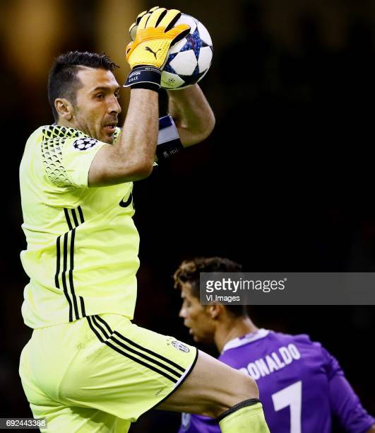 Goalkeeper Gianluigi Buffon of Juventus Cristiano Ronaldo of Real Madridduring the UEFA Champions League final match between Juventus FC and Real...