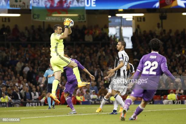 goalkeeper Gianluigi Buffon of Juventus FC Cristiano Ronaldo of Real Madrid Leonardo Bonucci of Juventus FC Giorgio Chiellini of Juventus FC Isco of...