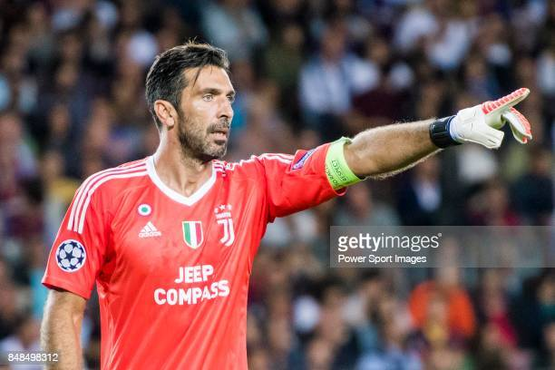 Goalkeeper Gianluigi Buffon of Juventus gives instructions during the UEFA Champions League 201718 match between FC Barcelona and Juventus at Camp...
