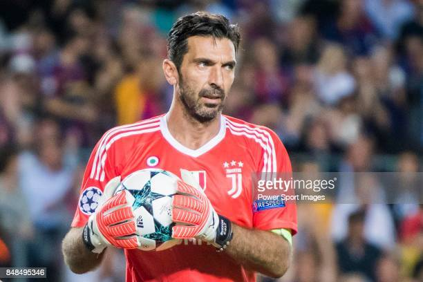 Goalkeeper Gianluigi Buffon of Juventus holds the ball during the UEFA Champions League 201718 match between FC Barcelona and Juventus at Camp Nou on...