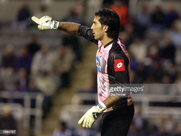 Goalkeeper Gianluigi Buffon of Juventus in action during the UEFA Champions League First Phase Group E match between Newcastle United and Juventus on...