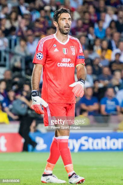 Goalkeeper Gianluigi Buffon of Juventus looks on during the UEFA Champions League 201718 match between FC Barcelona and Juventus at Camp Nou on 12...