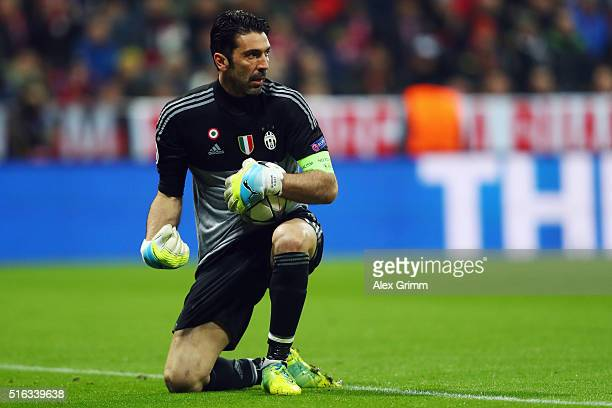 Goalkeeper Gianluigi Buffon of Juventus reacts during the UEFA Champions League Round of 16 Second Leg match between FC Bayern Muenchen and Juventus...