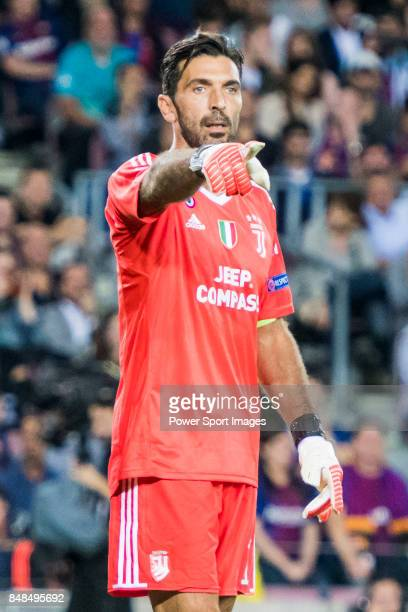 Goalkeeper Gianluigi Buffon of Juventus reacts during the UEFA Champions League 201718 match between FC Barcelona and Juventus at Camp Nou on 12...