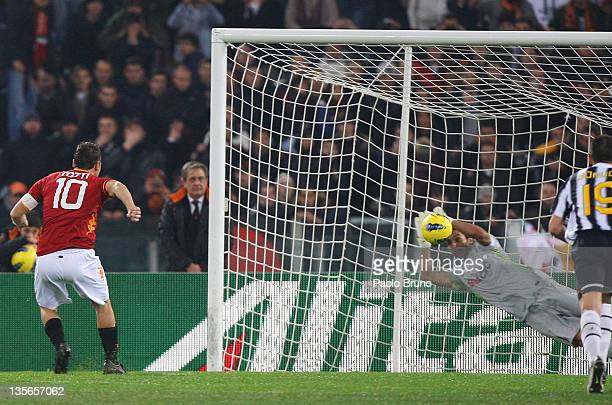 Goalkeeper Gianluigi Buffon of Juventus saves a penalty kick by Francesco Totti of AS Roma during the Serie A match between AS Roma and Juventus FC...