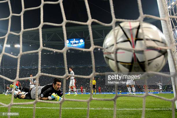 Goalkeeper Gianluigi Buffon of Juventus watches the ball hit the net as Arjen Robben of Bayern Muenchen scores his team's second goal during the UEFA...