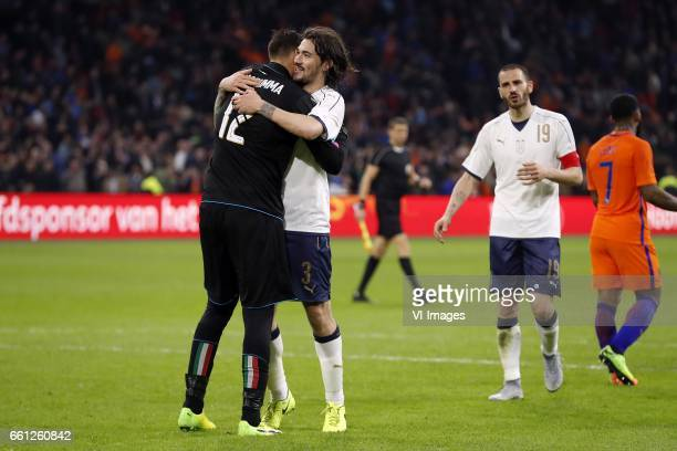 goalkeeper Gianluigi Donnarumma of Italy Alessio Romagnoli of Italy Leonardo Bonucci of Italy Jeremain Lens of Hollandduring the friendly match...