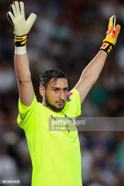 Goalkeeper Gianluigi Donnarumma of Italy gestures during the UEFA U21 championship match between Italy and Germany at Krakow Stadium on June 24 2017...