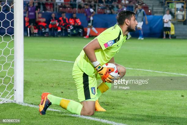 Goalkeeper Gianluigi Donnarumma of Italy in action during the UEFA U21 championship match between Italy and Germany at Krakow Stadium on June 24 2017...