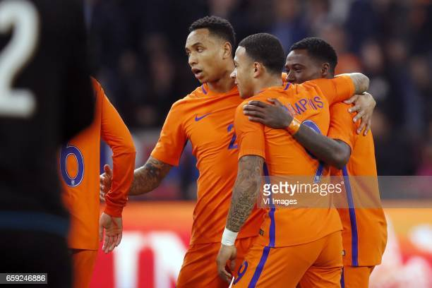 goalkeeper Gianluigi Donnarumma of Italy Kevin Strootman of Holland Kenny Tete of Holland Memphis Depay of Holland Jeremain Lens of Hollandduring the...