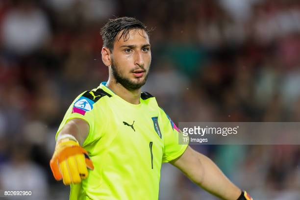 Goalkeeper Gianluigi Donnarumma of Italy looks on during the UEFA U21 championship match between Italy and Germany at Krakow Stadium on June 24 2017...