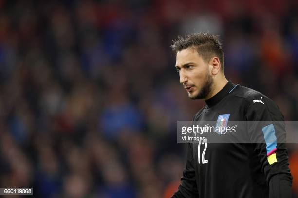goalkeeper Gianluigi Donnarumma of Italyduring the friendly match between Netherlands and Italy at the Amsterdam Arena on March 28 2017 in Amsterdam...