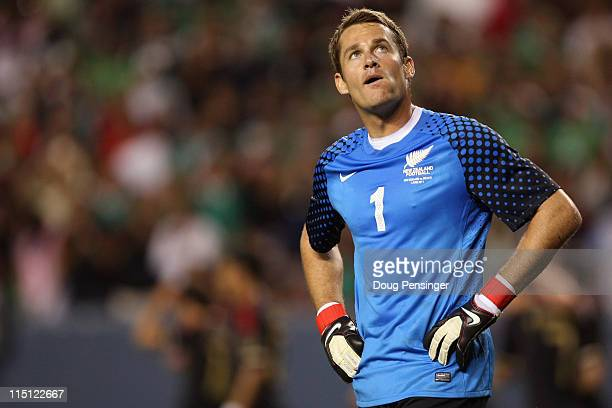 Goalkeeper Glen Moss of New Zealand looks on after being scored on by Mexico at INVESCO Field at Mile High on June 1 2011 in Denver Colorado Mexico...