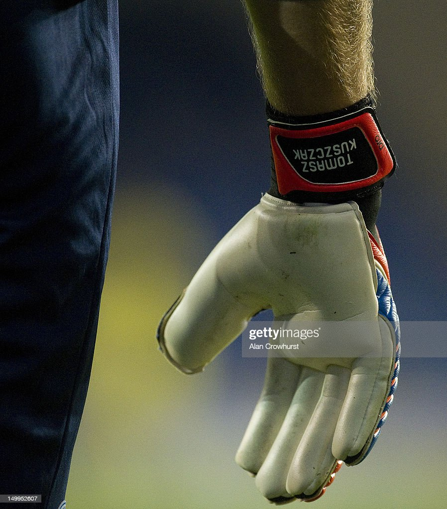 Goalkeeper glove during the pre season friendly match between Brighton Hove Albion and Reading at American Express Community Stadium on August 07...