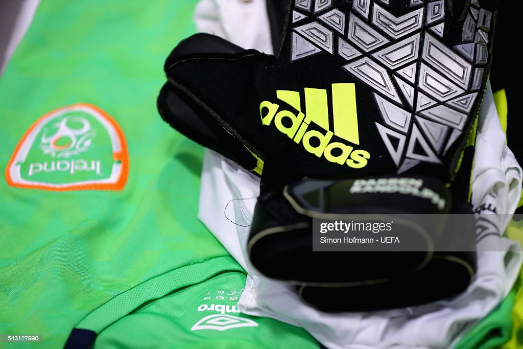 Goalkeeper gloves and shirts worn by Darren Randolph of Republic of Ireland are seen in the dressing room prior to the UEFA EURO 2016 round of 16 match between France and Republic of Ireland at Stade des Lumieres on June 26, 2016 in Lyon, France.
