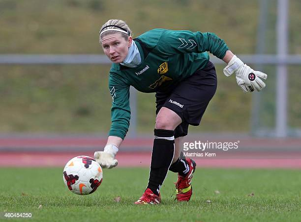 Goalkeeper Griseldis Meissner of Leipzig throws the ball during the Women's Second Bundesliga match between 1FC Luebars and FFV Leipzig at Stadion...