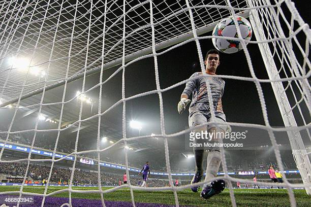 Goalkeeper Gudino of Porto gets the ball out of the net during the UEFA Youth League quarter final match between RSC Anderlecht and FC Porto at...