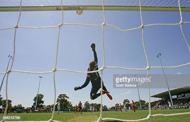 Goalkeeper Haley Kopmeyer of the Roar makes a save during the round six WLeague match between Melbourne City and the Brisbane Roar at CBSmith Reserve...