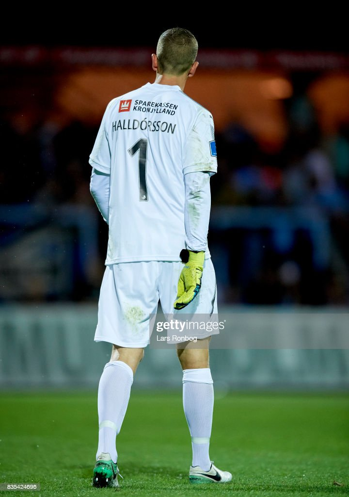 Goalkeeper Hannes Thor Halldorsson of Randers FC walks on to the pitch during halftime in the Danish Alka Superliga match between Randers FC and Silkeborg IF at BioNutria Park on August 18, 2017 in Randers, Denmark.