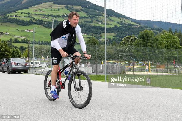 Goalkeeper Head coach Simon Henzler of Schalke controls the ball during the Training Camp of FC Schalke 04 on July 29 2017 in Mittersill Austria
