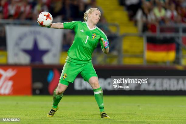 Goalkeeper Hedvig Lindahl of Sweden controls the ball during the Group B match between Germany and Sweden during the UEFA Women's Euro 2017 at Rat...