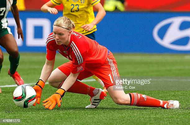 Goalkeeper Hedvig Lindahl of Sweden saves a shot on goal against Nigeria during the FIFA Women's World Cup Canada 2015 Group D match between Sweden...