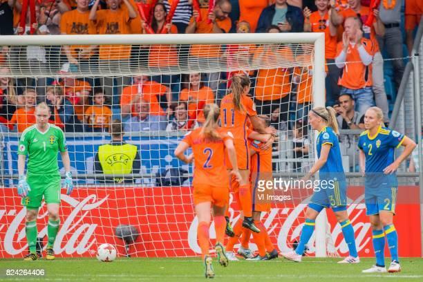 goalkeeper Hedvig Lindahl of Sweden women Desiree van Lunteren of Holland Women Lieke Martens of Holland Women Vivianne Miedema of Holland Women...