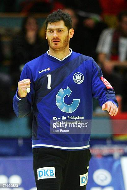 Goalkeeper Henning Fritz of Germany celebrates after a save during the Men's Handball European Championship main round Group II match between Germany...