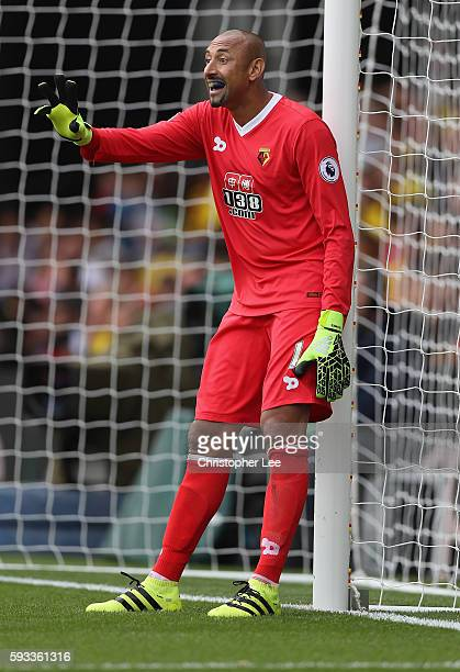 Goalkeeper Heurelho Gomes of Watford in action during the Premier League match between Watford and Chelsea at Vicarage Road on August 20 2016 in...