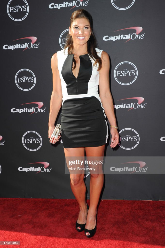 Goalkeeper <a gi-track='captionPersonalityLinkClicked' href=/galleries/search?phrase=Hope+Solo&family=editorial&specificpeople=580524 ng-click='$event.stopPropagation()'>Hope Solo</a> arrives at the 2013 ESPY Awards at Nokia Theatre L.A. Live on July 17, 2013 in Los Angeles, California.
